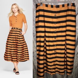Black&orange striped button front midi skirt